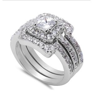 Jewelry - Sterling silver bridal 925   3 pcs engagement ring